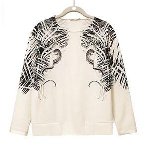 Zara Cream Sweatshirt with Print - NWOT